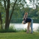 Senior man exercising next to a lake